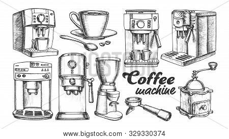 Coffee Machine, Holder And Cup Retro Set Vector. Portafilter, Manual Grinder And Mug With Hot Drink