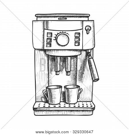 Espresso Machine With Two Cups Monochrome Vector. Coffee Machine For Brewing Aroma Hot Beverage. Cof