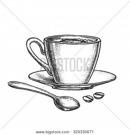 Coffee Cup On Saucer With Spoon Monochrome Vector. Energy Espresso In Mug And Coffee Grains. Morning