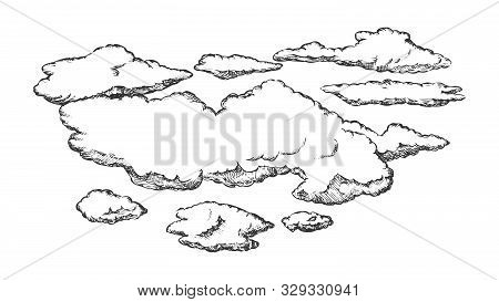 Fluffy Flying Clouds And Overcast Retro Vector. Beautiful Atmospheric Element Clouds. Seasonal Cloud