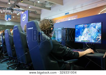 Poznan, Poland - October, 18th 2019: People Are Playing League Of Legends At Pga2019. Pga2019 Is A C