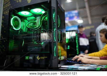 Poznan, Poland - October, 19th 2019: New Generation Gaming Computer At Pga2019. Pga2019 Is A Compute