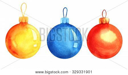 Set Of Three Decorative Elements. Christmas Ball. Christmas Tree Toy. Yellow, Blue, Red-orange Glass