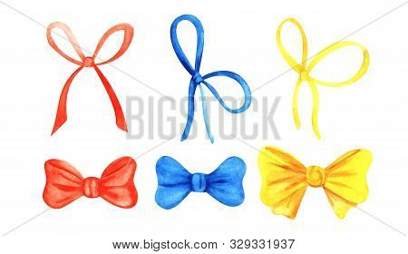 Set Of Six Decorative Elements. Colorful Thin And Lush Ribbons. Yellow, Blue, Red Bows. Present And