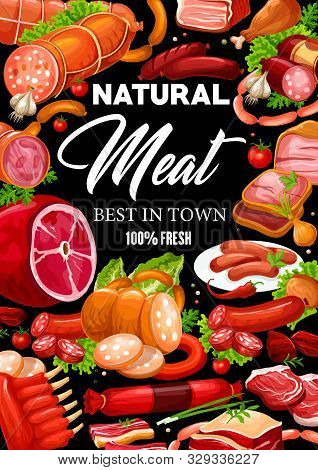 Meat And Sausages, Butchery Shop And Farmer Market Gourmet Food Products. Vector Butcher Pork And Sa