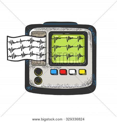 Holter Heart Monitor Cardiac Monitoring Device Sketch Engraving Vector Illustration. Medical Technol