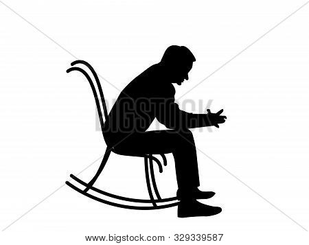 Man Sitting In Rocking Chair. Vector Illustration. Old Man Sitting Silhouette