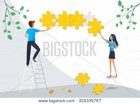 Vector Illustration Of Teamwork Business Concept. Team Metaphor. Group Of People Connecting Puzzle O
