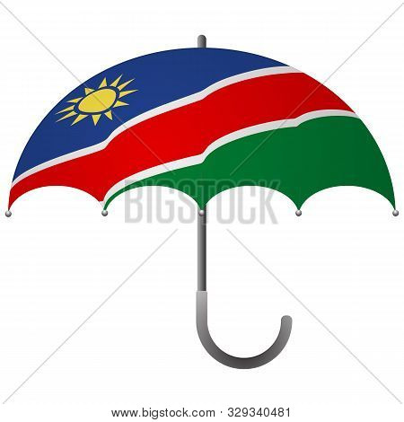 Namibia Flag Umbrella. Social Security Concept. National Flag Of Namibia Vector Illustration