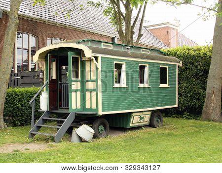 Warfum.may-16-2019. Classic Caravan In The Open Air Museum Het Hoogeland In Warfum. The Netherlands