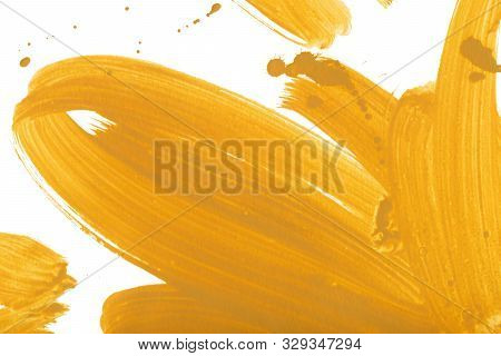 Yellow And Ocher Hand Drawn Watercolour Painting. Modern Mustard Blending Raster Illustration. Brigh