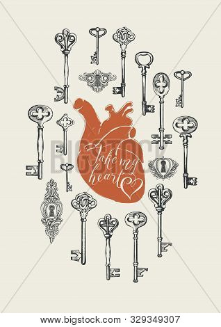 Vector Greeting Card Or Banner On The Theme Of Love And Valentine Day With Hand-drawn Vintage Keys,