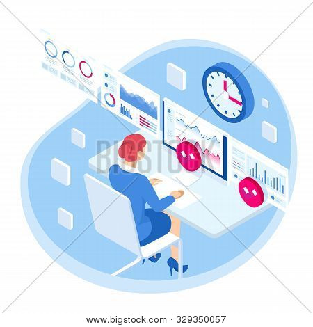 Isometric Business Data Analytics Process Management Or Intelligence Dashboard On Virtual Screen Sho