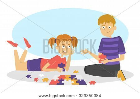Children Play Board Game. Two Friends Have Fun.