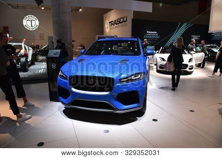 Frankfurt, Germany, September 10-2019: Jaguar F-pace Sv-r Iaa 2019