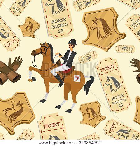 Horse Racing Seamless Pattern. Horseback Riding. Activity Jockey Club. Equipments For Equestrian Spo