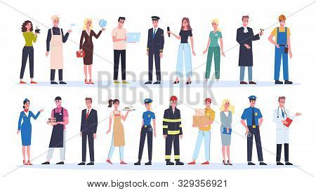 Profession Set. Collection Of Occupation, Male And Female Worker In The Uniform.