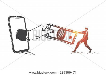 Tax, Debt, Cyber Crime Concept Sketch. Taxpayer, Banker Character, Businessmen Holding Banknote, Eco
