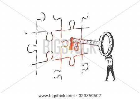 Business Key, Solution, Leadership Concept Sketch. Businessman, Company Boss, Ceo Solving Problem, K