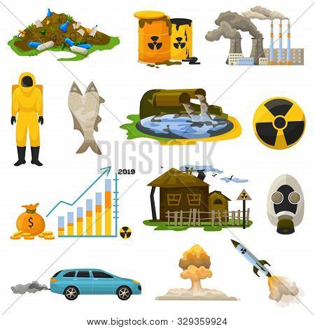 Nuclear Pollution Vector Radioactive Atomic Energy Polluting Environment Illustration Set Of Radiati