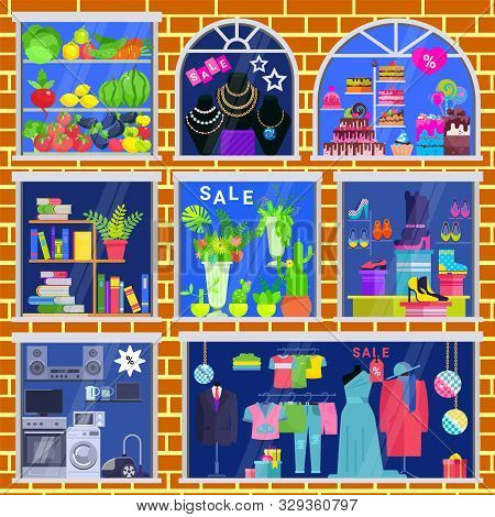 Shop Window Vector Showwindow Of Book Store Clothing Shop And Jewelery Window-case Illustration Set