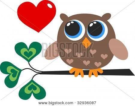 a brown owl with a red heart