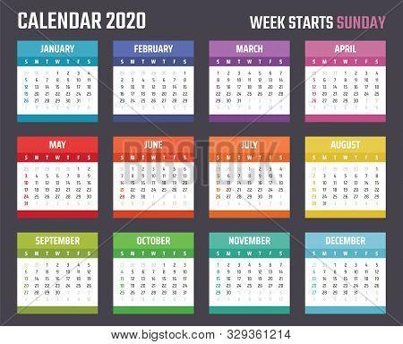 Calendar For 2020 Starts Sunday, Vector Calendar Design 2020 Year