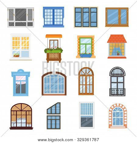 Window Vector Modern House View Glass Frame Arch Illustration Set Of Windowing Design Windowpane Arc