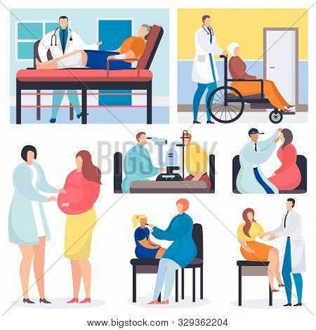 Medical Examination Vector Doctor Patient Medical Character Examining Health In Professional Clinic