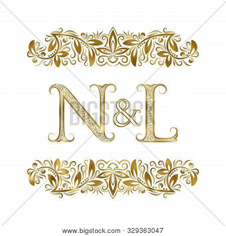 N And L Vintage Initials Logo Symbol. The Letters Are Surrounded By Ornamental Elements. Wedding Or