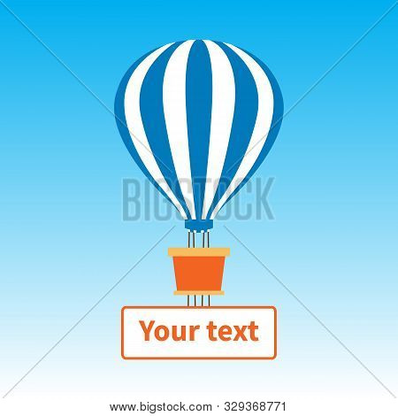 Striped Hot Air Balloon In The Blue Sky. Blue And White Stripes Of A Balloon Dome. Orange Basket. Ba