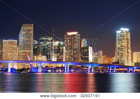 Miami city skyline closeup at dusk with urban skyscrapers and bridge over sea with reflection