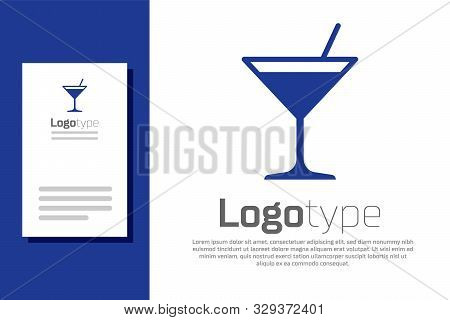 Blue Martini Glass Icon Isolated On White Background. Cocktail Icon. Wine Glass Icon. Logo Design Te