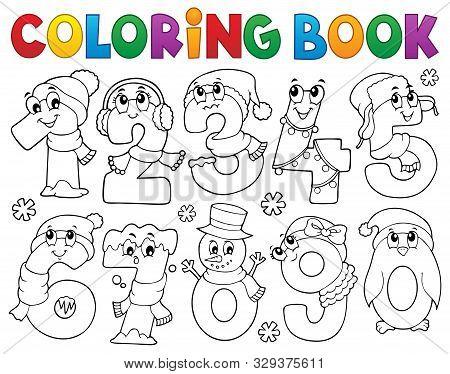 Coloring Book Winter Numbers Set 1 - Eps10 Vector Picture Illustration.