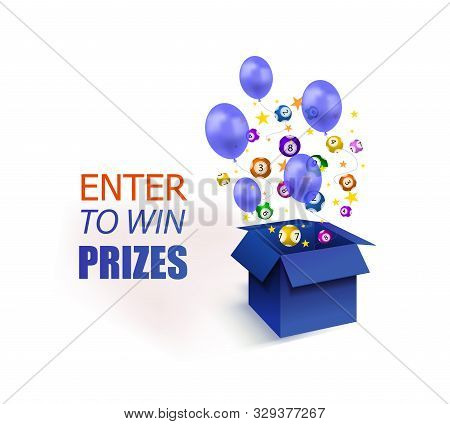 Vector Enter To Win Prizes Banner, Blue Box With Stars, Lottery Balls And Balloons Isolated On White