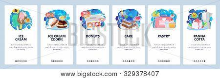 Mobile App Onboarding Screens. Dessert Sweet Food, Ice Cream, Donuts, Cake, Cupcake, Panna Cotta. Me