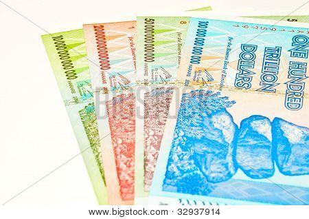Zimbabwean trillion dollar notes