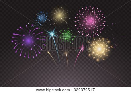 Bright Colorful Fireworks Explosions Isolated On Transparent Background. New Years Eve Fireworks. Fe