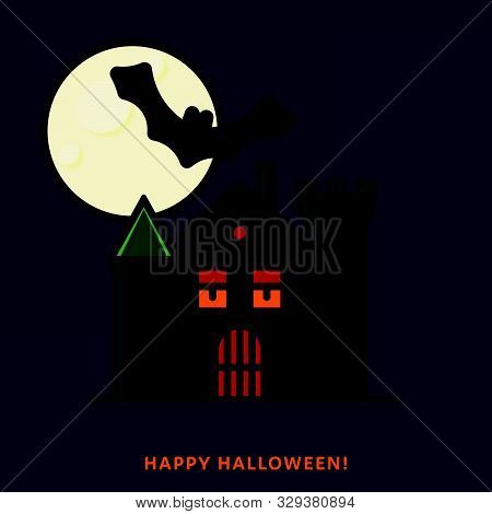 Halloween Haunted House With Moon And Bat. Vector Illustration, Filled Outline Style.