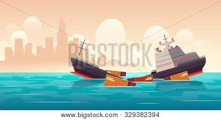 Shipwreck Of Cargo Ship, Vessel Sinking In Ocean With Goods Containers Going Under Water Surface On