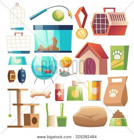 Pet Shop Food And Accessories Set Isolated On White Background. Home Animals Store Goods. Toys, Groo