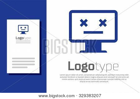 Blue Dead Monitor Icon Isolated On White Background. 404 Error Like Pc With Dead Emoji. Fatal Error