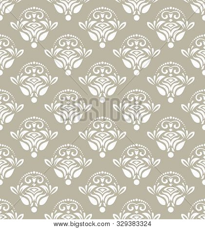 Classic Seamless Vector Pattern. Damask Orient Ornament. Classic Vintage Background. Orient White Or
