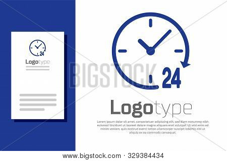 Blue Clock 24 hours icon isolated on white background. All day cyclic icon. 24 hours service symbol. Logo design template element. Vector Illustration poster