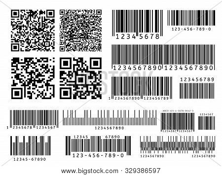 Product Barcodes. Industrial Barcode, Qr Code And Scan Bar Label. Inventory Badge Codes, Supermarket