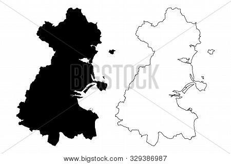 County Dublin (republic Of Ireland, Counties Of Ireland) Map Vector Illustration, Scribble Sketch Du