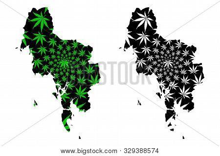 Krabi Province (kingdom Of Thailand, Siam, Provinces Of Thailand) Map Is Designed Cannabis Leaf Gree