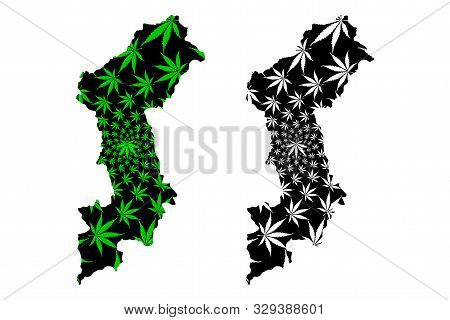 Lamphun Province (kingdom Of Thailand, Siam, Provinces Of Thailand) Map Is Designed Cannabis Leaf Gr