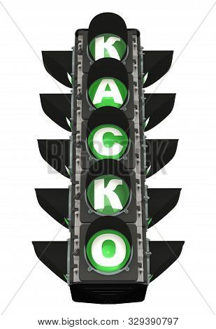 Traffic Light With Green Casco Word. Translation Text: