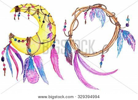 A Set Of Two Different Dream Catchers - The Moon Is A Dream Catcher And A Branch Catcher. Unusual Ac